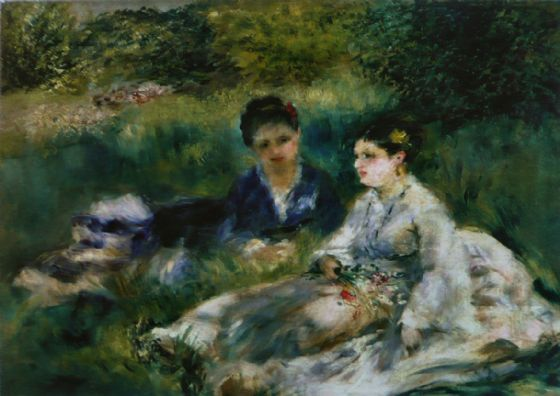 Renoir, Pierre Auguste: Two Women in the Grass. Fine Art Print/Poster. Sizes: A4/A3/A2/A1 (004264)